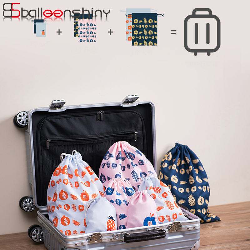 BalleenShiny Polyester Drawstring Storage Bags Portable Clothes Makeup Gadgets Neaten Pouch Suitcase Travel Organizer Supply