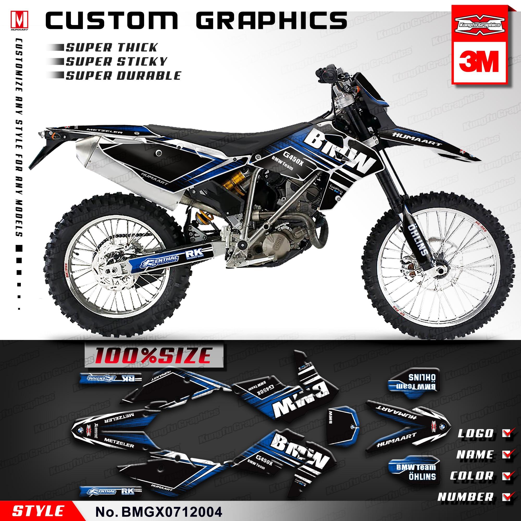 Kungfu graphics custom vinyl stickers dirt bike decals kit for bmw g450x 2007 2008 2009 2010 2011 2012 style no bmgx0712004