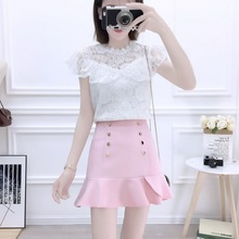 2019 Fashion Suits Sweet Hollow Out Hook Flower Bud Tall Waist Skirt Falbala Two-Piece Clothing Set Women Outfit Lace Blouse plain lace patchwork falbala blouse