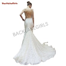 Sexy Mermaid Wedding Dress Open Back Lace Sweep Train