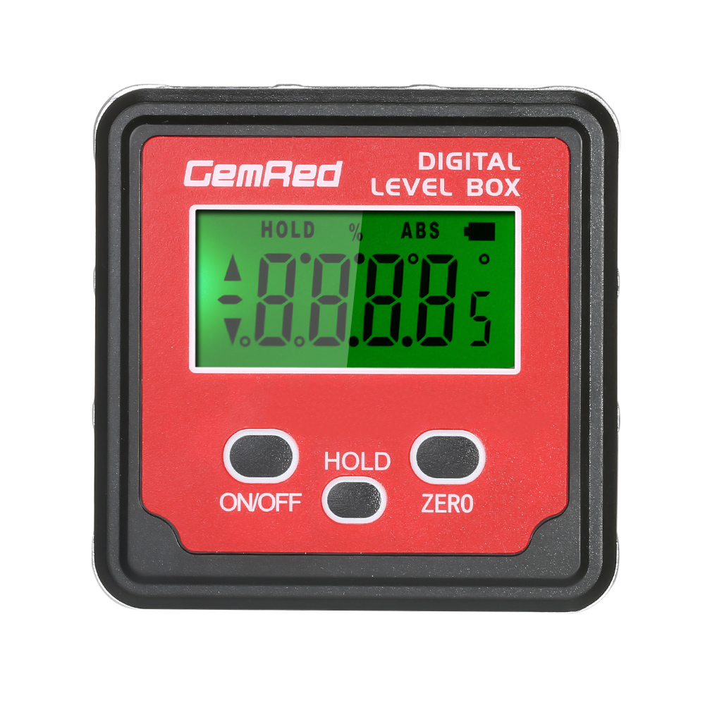 US $19 99 48% OFF|GemRed 2\3 button Level Box Angle Gauge Digital Angle  Finder Inclinometer Level Gauge Magnetic Base with Backlight Screen-in