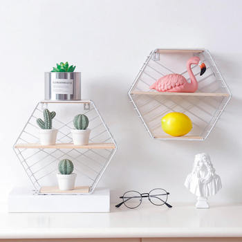 Nordic Iron Hexagonal Grid Wall Floating Shelf Combination Wall Hanging Geometric Figure Wall Decoration For Living Room Decor