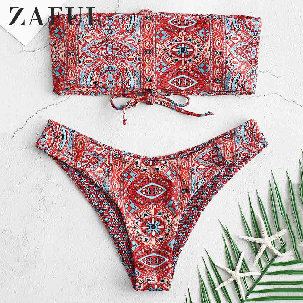 ZAFUL Ethnic Lace Up Bandeau Bikini 2pieces Set Strapless Padded Swim Suit Ethnic Bandeau Reversible Vintage Pullover Swimwear