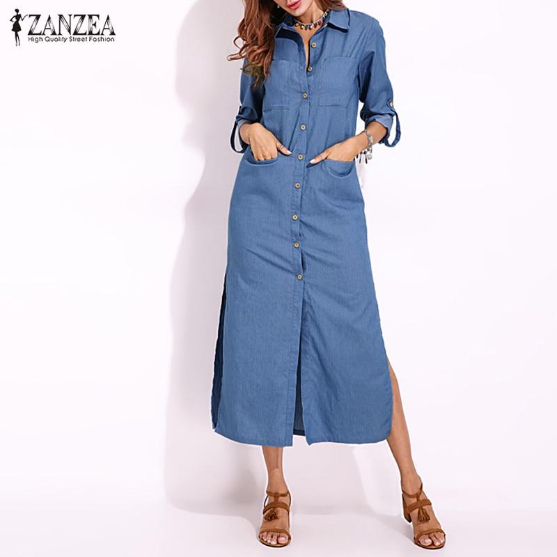 ca7dff60eaf Detail Feedback Questions about ZANZEA Plus Size Denim Dress Women s  Sundress Shirt Dresses 2019 Spring Button Down Maxi Vestidos Female Split  Jeans Party ...