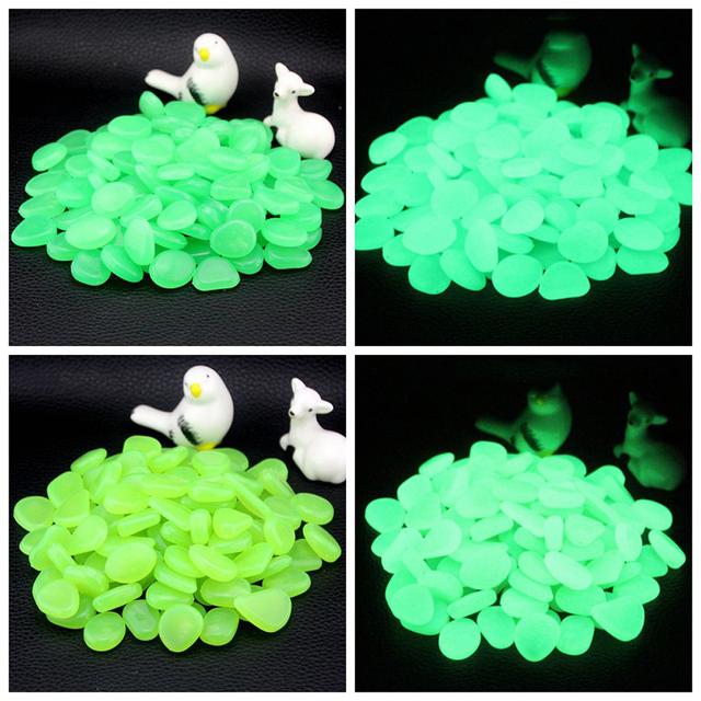 100pcs Luminous Artificial Pebbles Glow In Dark Stone Home Garden Decoration Fluorescent Artificial Stone for Aquarium Fish Tank
