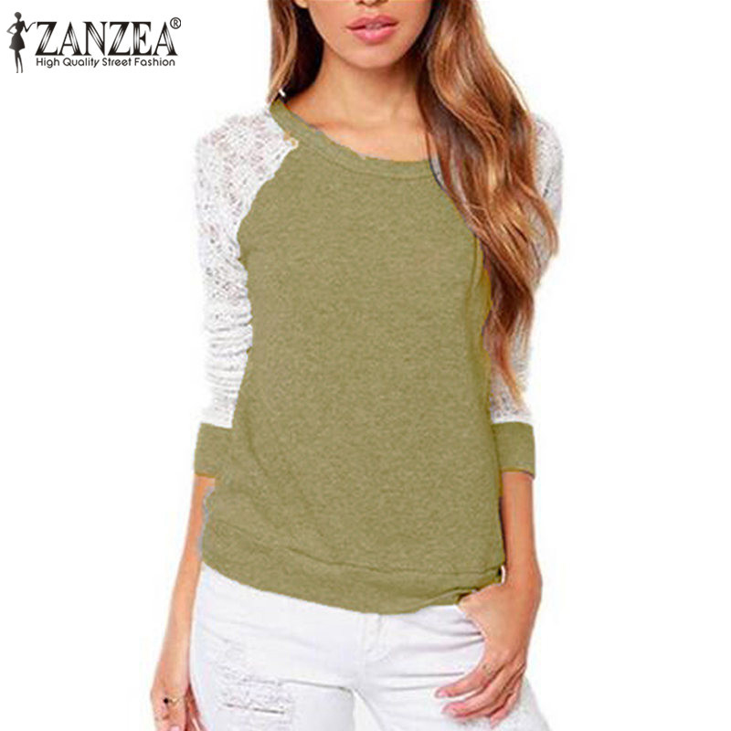 Women Pullover Blouse Shirt ZANZEA 2019 Spring Elegant O Neck Long Sleeve Sexy Lace Crochet Patchwork Tees Tops Blusas Femininas