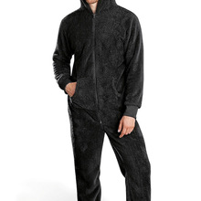 Winter Men Flannel Warm Onesies Adults Soft Hooded Jumpsuits Warm Sleep