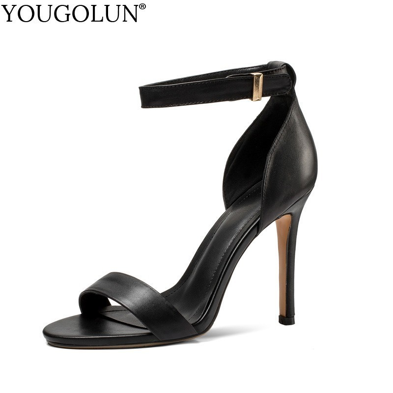 <font><b>10</b></font> cm High Heel Sandals Women Summer Genuine Leather Thin Heels <font><b>Sexy</b></font> Lady Ankle Strap Sandals Woman Black White Party Shoes A175 image
