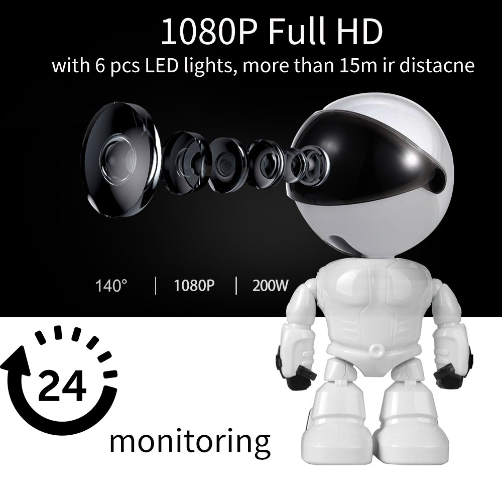 Aparat dla dzieci 1080P HD bezprzewodowy inteligentny niania elektroniczna Baby monitor WiFi IP kamera robota audio wideo rekord nadzoru domu kamera ochrony