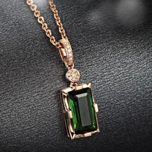 14K Rose Gold Diamond Necklace Pendant Natural Emerald jade Necklace for Women Peridot Bizuteria Gemstone Jade Jewelry Pendant
