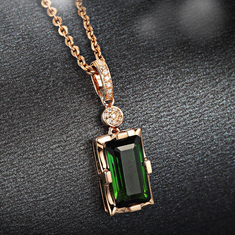 14K Rose Gold Diamond Pendant Natural Emerald Blue Rectangle Necklace For Women Peridot Bizuteria Gemstone Jade Jewelry Pendant