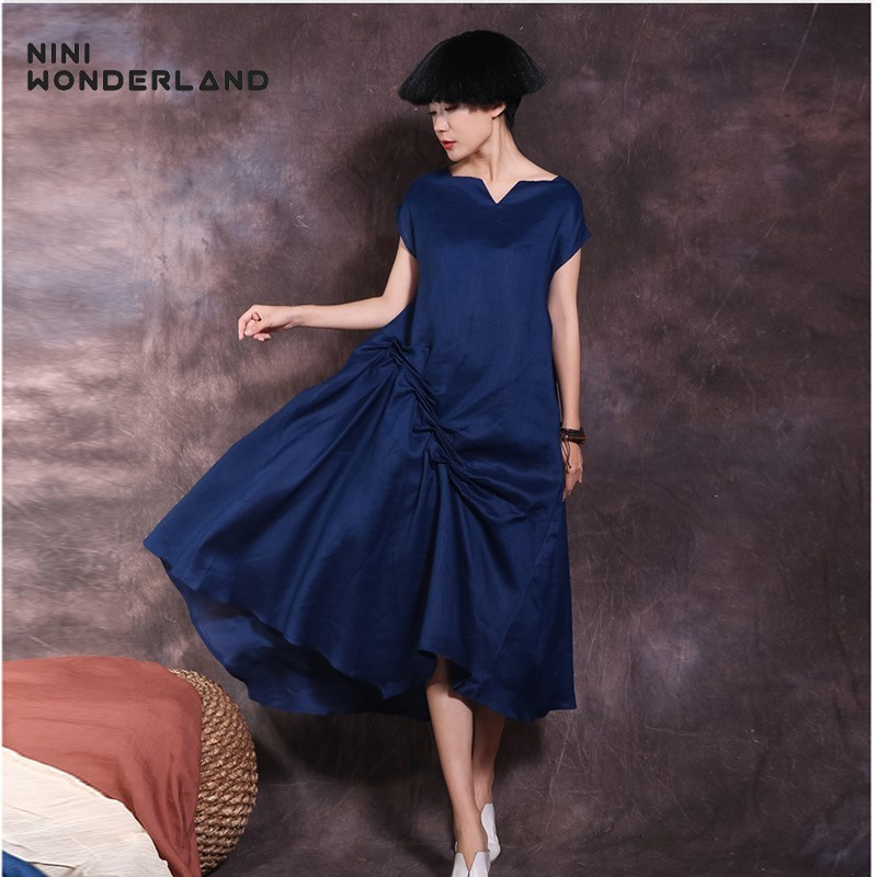 NINI WONDERLAND Summer Dress 2019 Women Slash Neck Elegant Dress Female Solid Color Ramie Party Asymmetrical