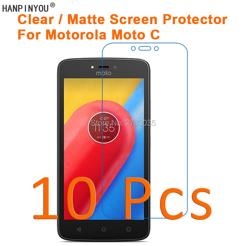 """10 Pcs/Lot For Motorola Moto C XT1750 5.0"""" HD Clear/Anti-Glare Matte Screen Protector Protective Film Guard (Not Tempered Glass)"""