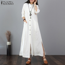 ZANZEA Women Long Maxi Dress Mandarin Collar Long Shirt Dresses Long Sleeve Cotton Linen Vestido Kaftan Button Up Robe Plus Size недорого