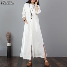ZANZEA Women Long Maxi Dress Mandarin Collar Long Shirt Dresses Long Sleeve Cotton Linen Vestido Kaftan Button Up Robe Plus Size button up plaid plus size shirt dress