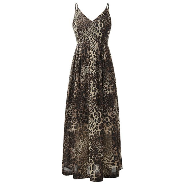 Women Leopard Print Long Dress V Neck Spaghetti Shoulder Straps Summer Beach Dress