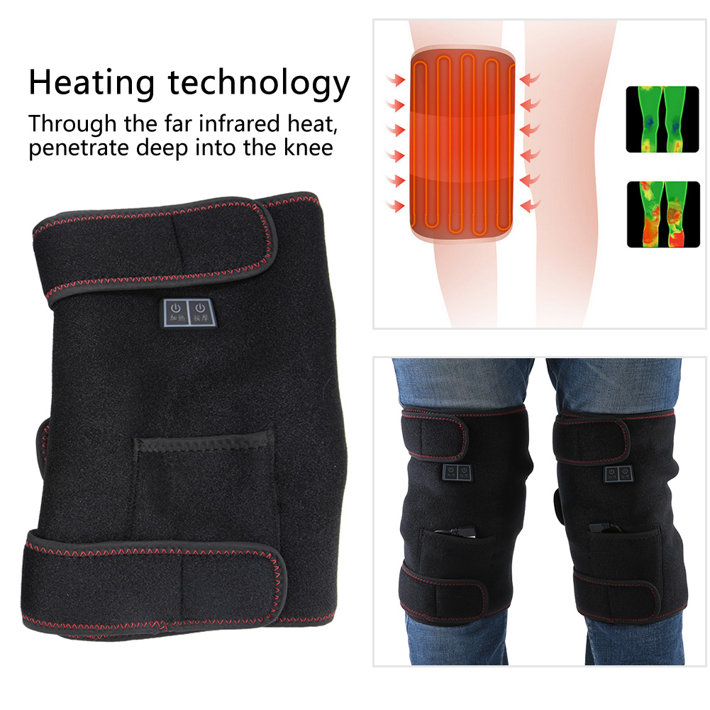 Electric Heating Knee Pad Infrared Brace Massage Therapy Leg Care Support l