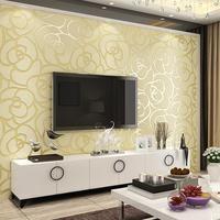 3D Embossed Imitated Deerskin Nonwoven Wallpaper Rose Marbling Pattern Bedroom Living Room TV Background Wall Sticker