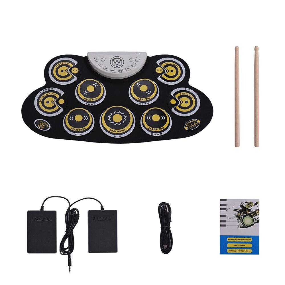Batterie électronique Portable Silicone rouleau tambour Set avec bâtons de tambour pédales de pied conception de bande dessinée tambour numérique pour les débutants