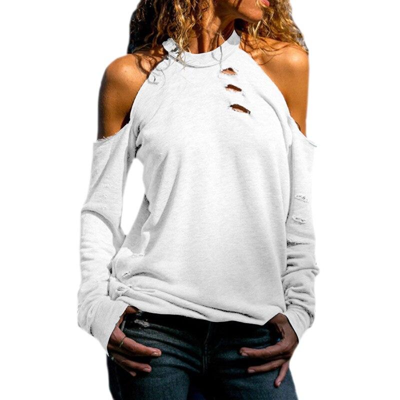 Aus Dem Ausland Importiert Frühling Tops Frauen Off Schulter Oansatz Top T-shirt Mode Aushöhlen Lange Ärmel Einfarbig Beiläufige Dünne T Shirt Frauen