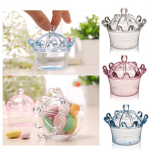 Transparent Boxes Wrapping Supplies 3 Colors Wedding Birthday Decor Romantic Home Plastic Candy Box Crown Sharped Gift Bags