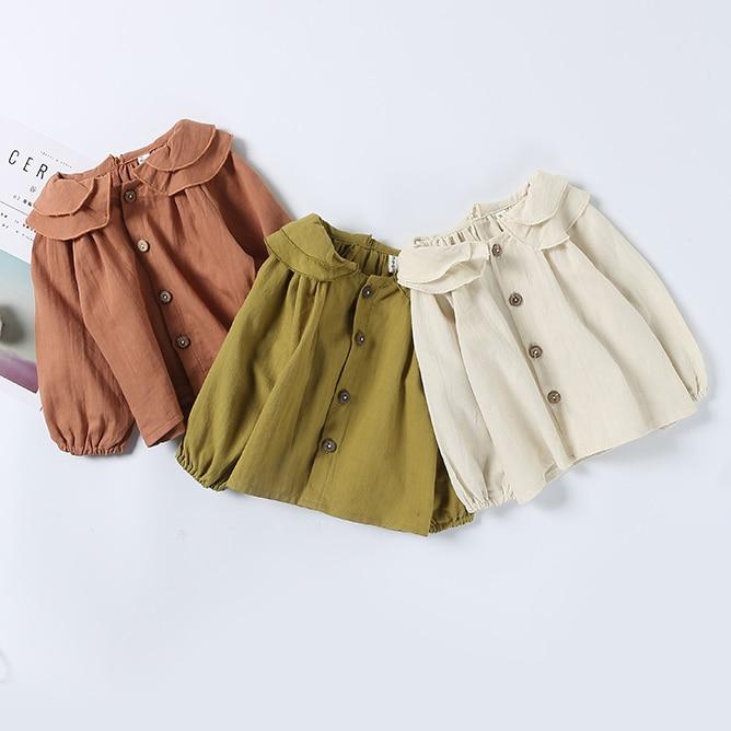 Adorable Girl Lace Shirt Princess High Quality cotton Ruffle Callor Blouse Baby Girl Clothes Cotton Tops children Clothing