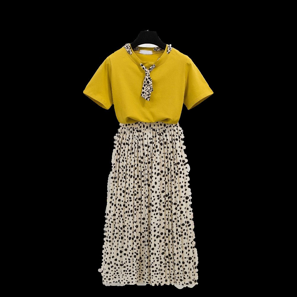 Runway Style Women Two Piece Sets O Neck Tshirt Tops and Print Mid Skirt Sets Skirt Office Suit sets|Women's Sets| |  - title=