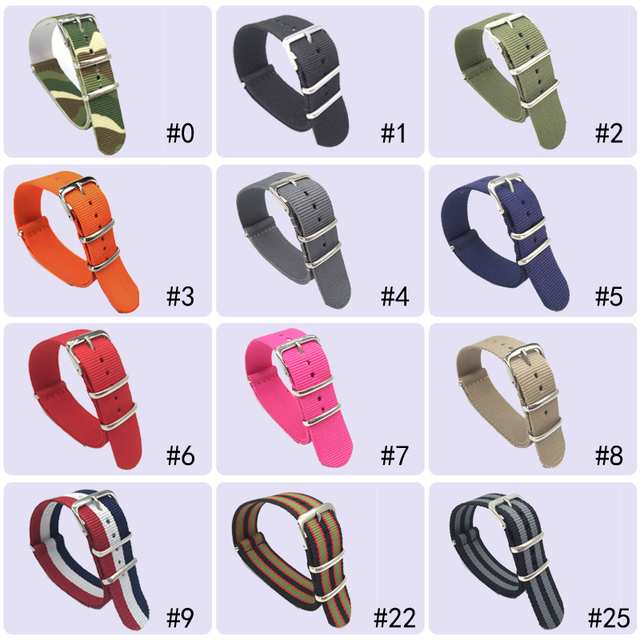 18 20 22 24 mm Brand Army Sports nato fabric Nylon watchband accessories Bands B