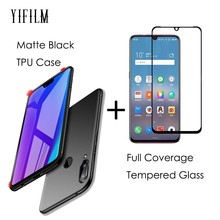 Matte Black TPU Back Cover Case for Meizu Note 9 0.3m 2.5D Full Cover Tempered Glass Full LCD Screen Protector for MEIZU Note9 glossy matte lcd screen front back protector w cleaning cloth for iphone 4 4s transparent