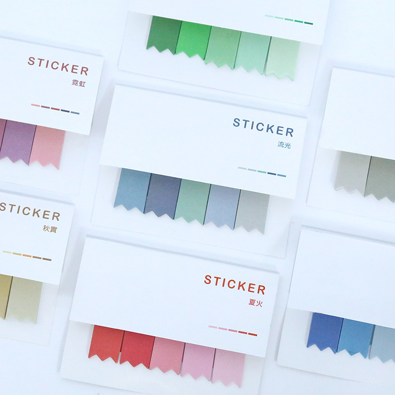1pcs New Gradient Color Memo Pads Office Novelty Sticky Notes Planner Stickers Page Index Post Office School Stationery Supplies
