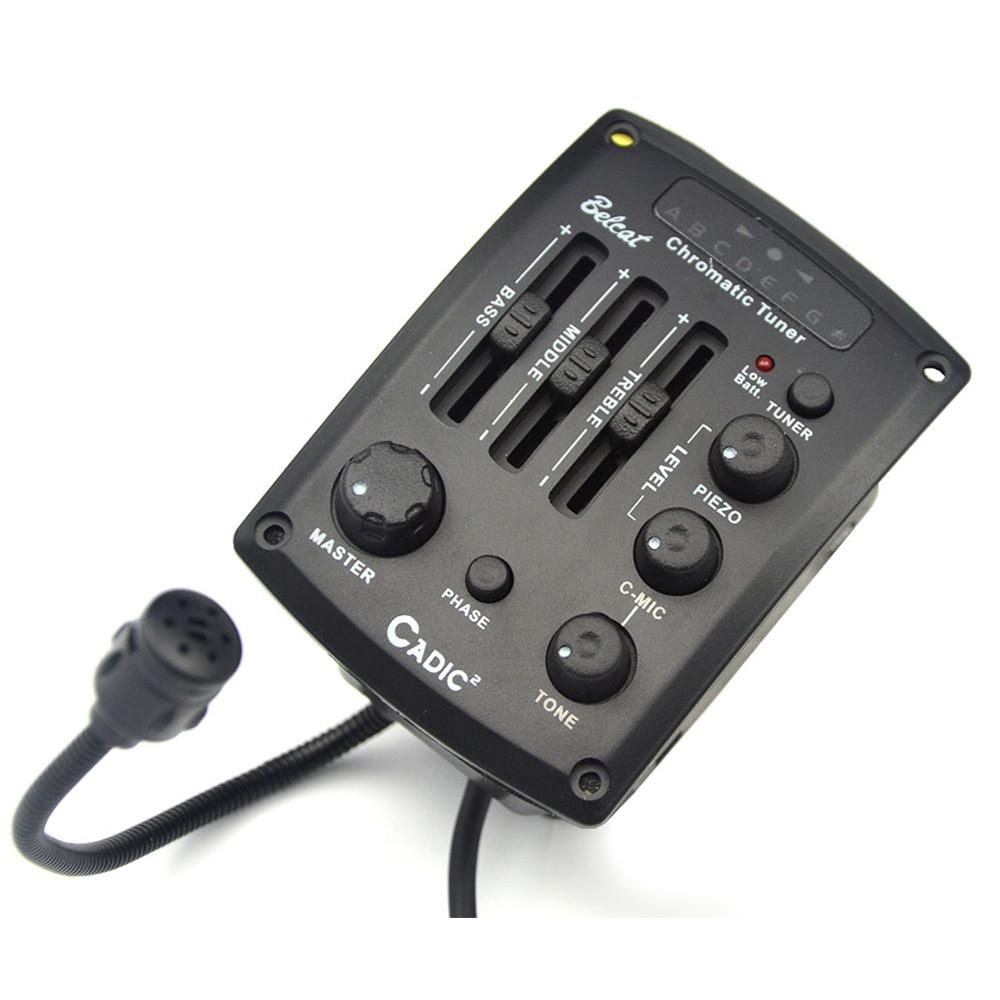 Belcat Cadic-2 3 bandes EQ guitare pick-up préampli oméga-ll Piezo câble pick-up Piezo & c-mic Blender avec accordeur de LED chromatique