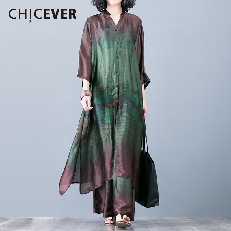 CHICEVER Summer Casual Print Slik Women Two Piece Set O Neck Button Long Irregular Shirt With