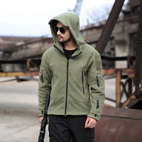 Military Fleece Tactical Jacket MEN Casual Hooded Jacket Army Zipper Coat Outdoor Thermal Ventilation Sports Polar Clothes