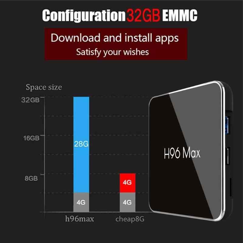 H96 Max X2 Android 8 1 TV Box 4GB RAM+32GB ROM 4K Amlogic S905X2 Quad Core  2 4G+5G WiFi USB 3 0 Netflix Bluetooth Media Player
