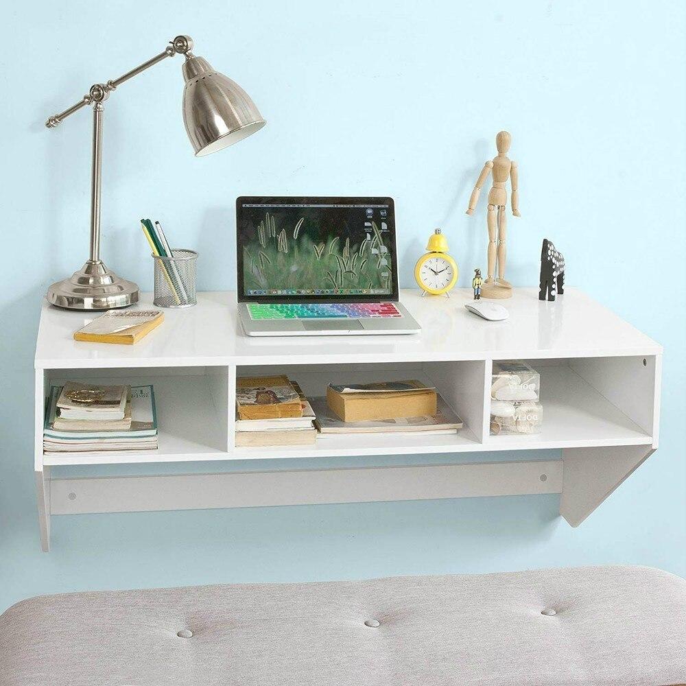 SoBuy FWT14-W Blanc Table murale Table de cuisine Bureau informatique avec 3 compartiments