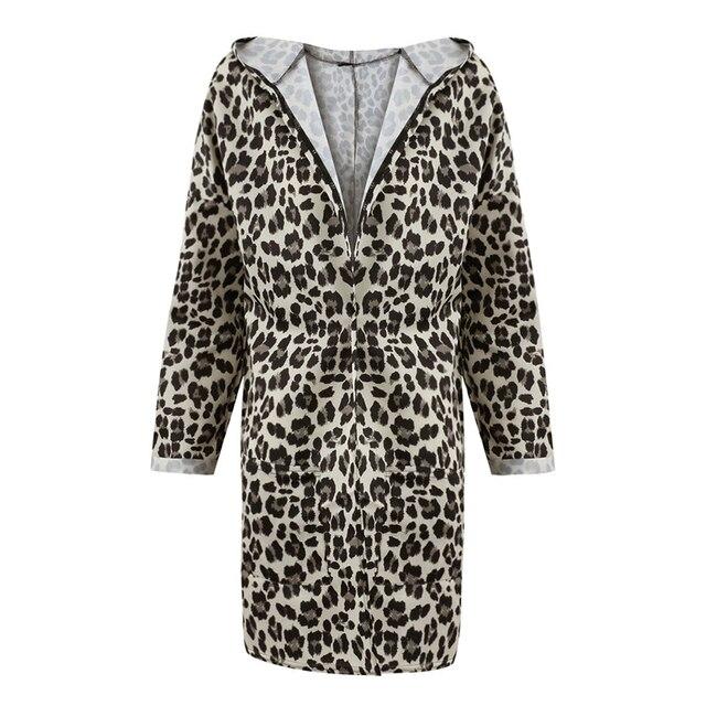 b74e8a45db Women Winter Hooded Coat Leopard Print Open Front Long Sleeve Kimono  Cardigan Pockets Cardigan Autumn Fashion Outerwear Coffee