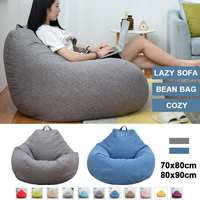 Bean Bag Solid Color Lounger Chair Sofa Cotton Linen Beanbag Sofas Waterproof Stuffed Animal Storage Toy Chair Cover Living Room