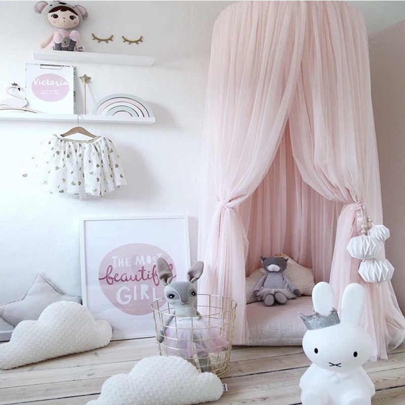 Kid Nordic Round Dome Bed Curtain Bed Tent  Mesh Hung Dome Canopy Crown Princess Mosquito Net Bedding Home Decor With Stars