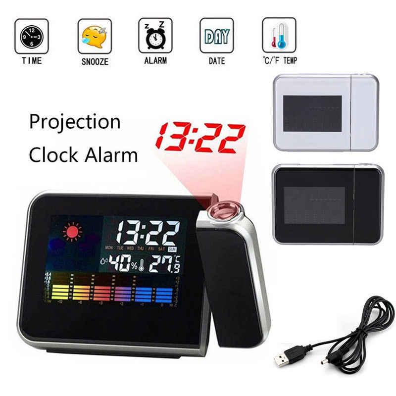 Desktop Clock Jam Alarm Digital dengan Proyektor Layar Warna Waktu Proyeksi Clock Multi-Fungsi Cuaca Kalender Time