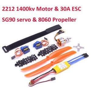 A2212 2212 1400KV Brushless Motor 30A ESC Motor Mount 8060 Propeller SG90 9G Micro Servo set for RC Fixed Wing Plane Helicopter