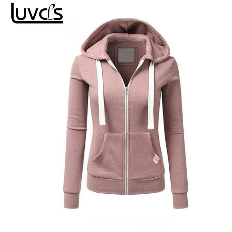 LUVCLS Winter Fashion Womens Hoodies Sweatshirt Zipper Jacket Solid Zipper Women Hoodies Sweatshirts Moleton Feminino