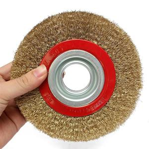 Image 3 - HLZS 1Pcs 8 Inch 200mm Steel Flat Wire Wheel Brush with 10pcs Adaptor Rings For Bench Grinder Polish