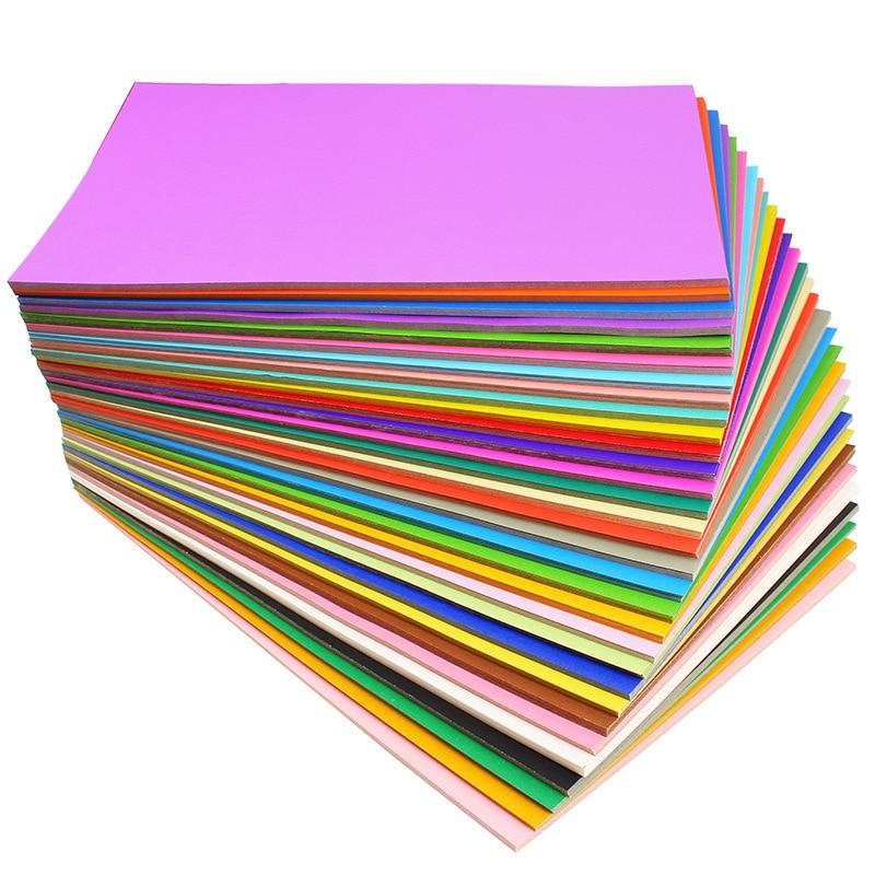 Купить с кэшбэком 100pcs/lot4K Colorful Printing Paper 200g Children DIY Handmade Origami Craft Paper 38x52cm  Painting Thick Paperboard Cardboard
