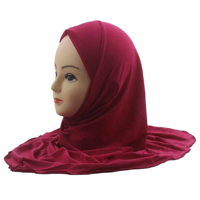 Girls Kids Muslim Hijab Islamic Arab Scarf Shawls No Decoration Soft and Stretch for 7 to 12 years old Girls