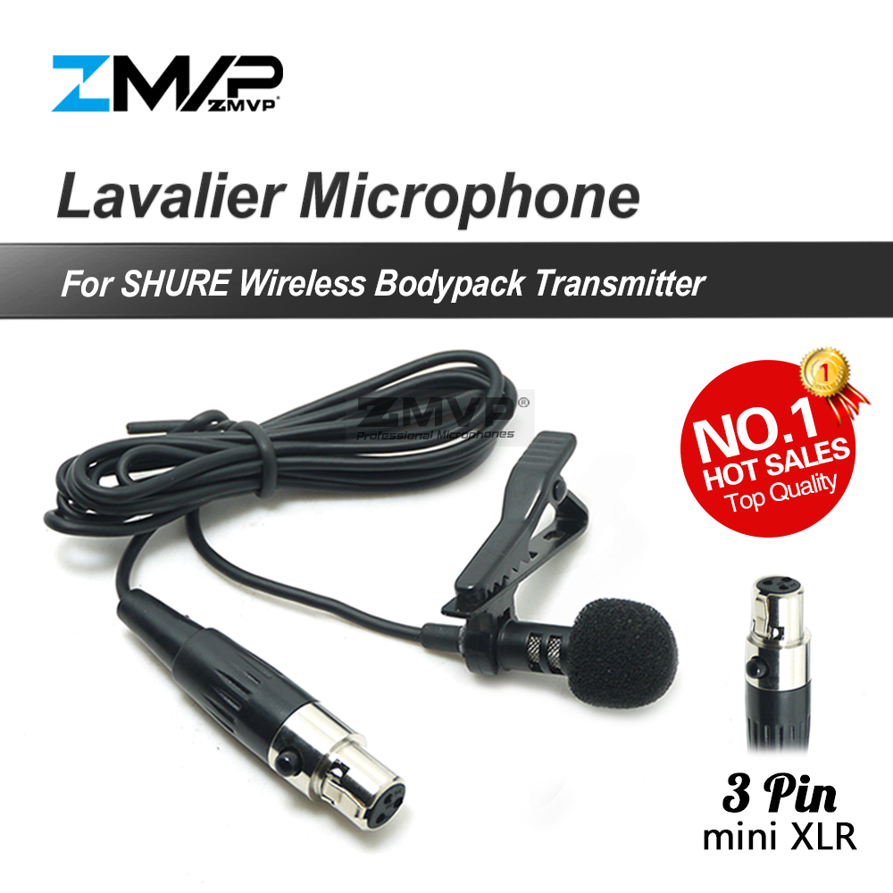 Professional 3Pin XLR TA3F Lavalier Lapel Tie Clip Cardioid Condenser Microphone For Shure Wireless 3 Pin Bodypack Transmitter