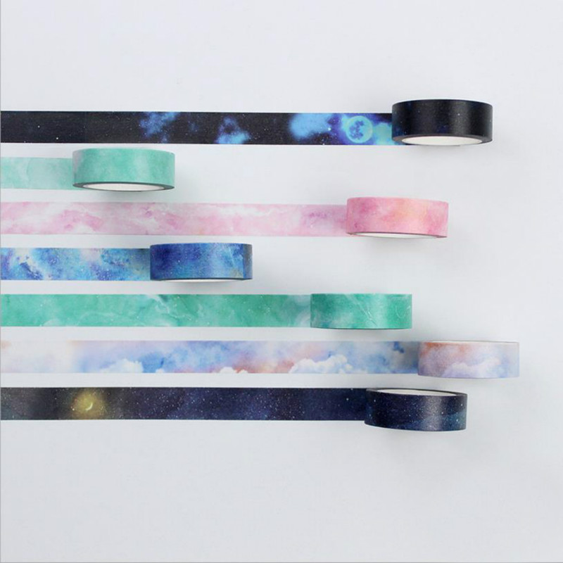 NOVERTY Starry DIY Foil Kawaii Washi Tape Watercolor Decoration Masking Tape Stickers Diary Planner Scrapbooking 7 Styles 02469