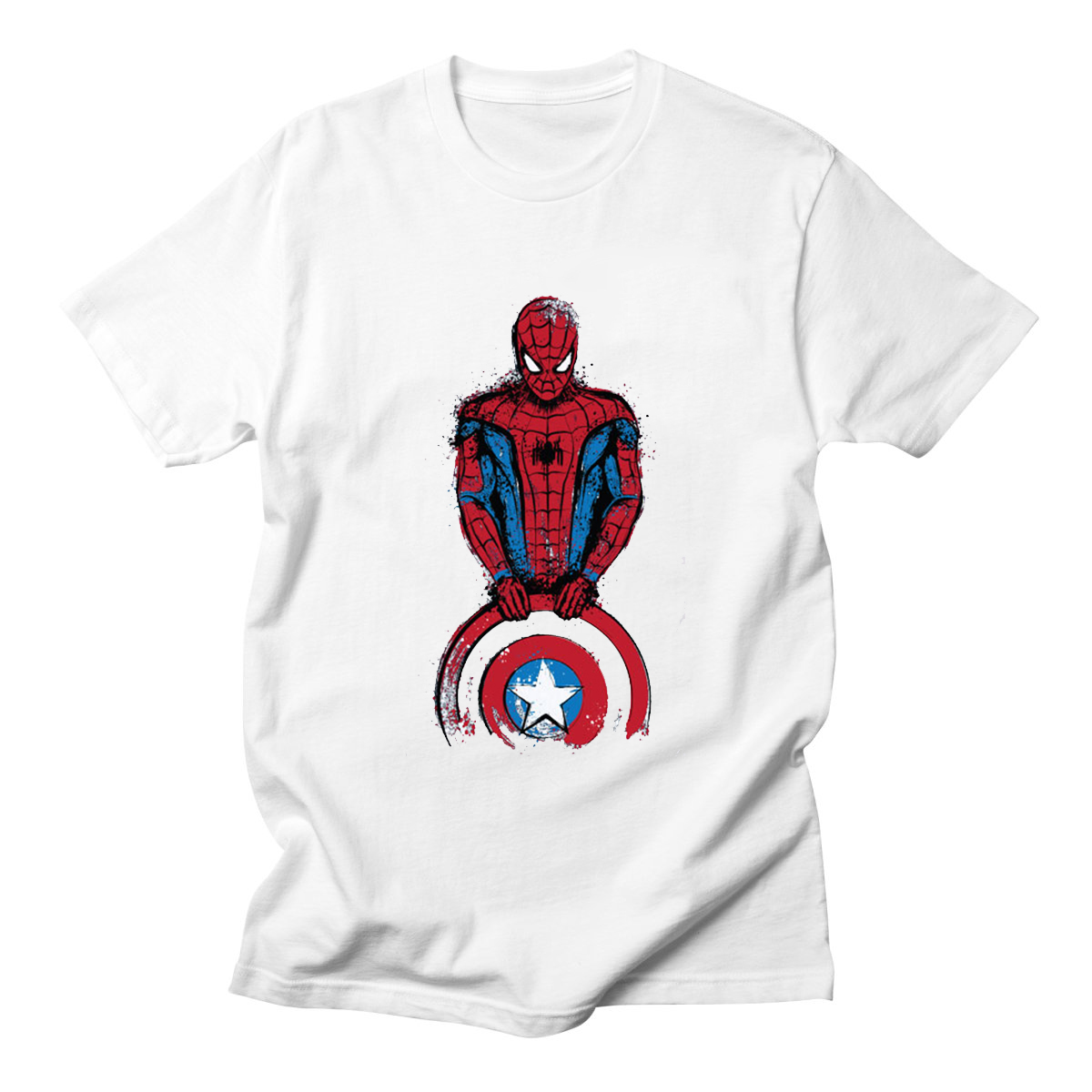 Summer Newest Men   T     Shirt   Funny Cool Superhero Batman Printed Man Spider Man   T  -  Shirt   Short Sleeve Design Tee   Shirts