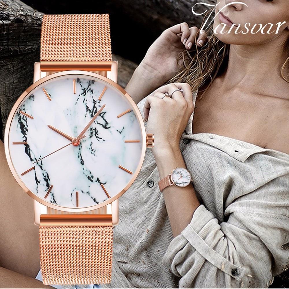 Vansvar Brand Fashion Rose Gold Mesh Band Creative Marble Wrist Watch Casual Women Quartz Watches Gift Clock Relogio Feminino