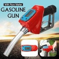 Doersupp Digital Flow Meter Indicator Fuel Gasoline Petrol Oil Refueling Gun Nozzle Aluminum Gas Station Refuel Injection Tools