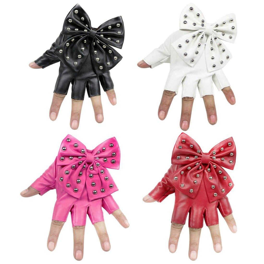 Womens Leather Gloves Black Fingerless PU Big Bow Mittens Half finger Ladies Luvas Dancing